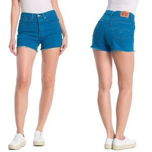 Levis 501 Button Fly Distressed Bright Jean Shorts